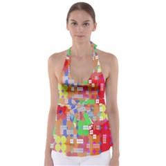 Abstract Polka Dot Pattern Babydoll Tankini Top
