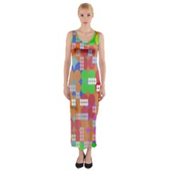 Abstract Polka Dot Pattern Fitted Maxi Dress