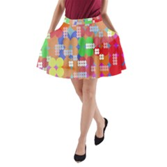 Abstract Polka Dot Pattern A-Line Pocket Skirt
