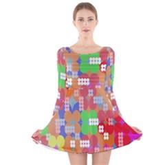 Abstract Polka Dot Pattern Long Sleeve Velvet Skater Dress