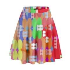 Abstract Polka Dot Pattern High Waist Skirt