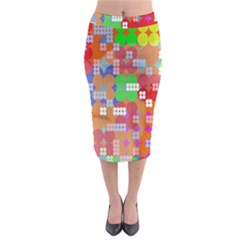 Abstract Polka Dot Pattern Midi Pencil Skirt