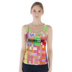 Abstract Polka Dot Pattern Racer Back Sports Top