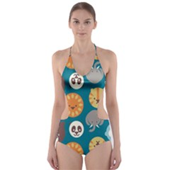 Animal Pattern Cut Out One Piece Swimsuit