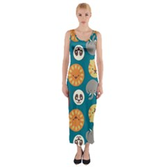 Animal Pattern Fitted Maxi Dress