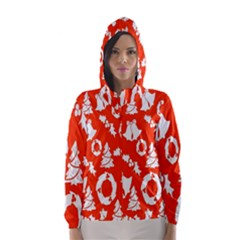 Backdrop Background Card Christmas Hooded Wind Breaker (Women)