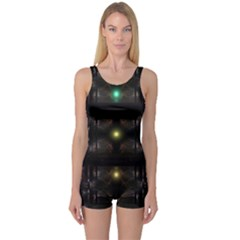 Abstract Sphere Box Space Hyper One Piece Boyleg Swimsuit