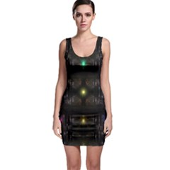 Abstract Sphere Box Space Hyper Sleeveless Bodycon Dress