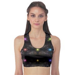 Abstract Sphere Box Space Hyper Sports Bra