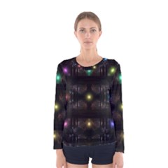 Abstract Sphere Box Space Hyper Women s Long Sleeve Tee
