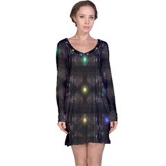 Abstract Sphere Box Space Hyper Long Sleeve Nightdress