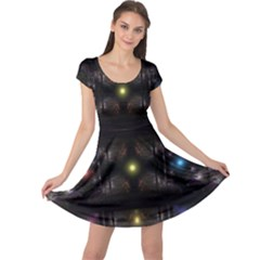 Abstract Sphere Box Space Hyper Cap Sleeve Dresses