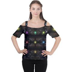 Abstract Sphere Box Space Hyper Women s Cutout Shoulder Tee