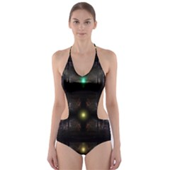 Abstract Sphere Box Space Hyper Cut-Out One Piece Swimsuit