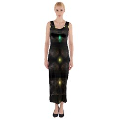 Abstract Sphere Box Space Hyper Fitted Maxi Dress