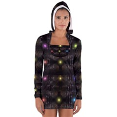 Abstract Sphere Box Space Hyper Women s Long Sleeve Hooded T Shirt
