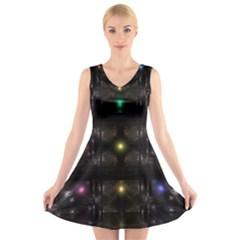 Abstract Sphere Box Space Hyper V Neck Sleeveless Skater Dress
