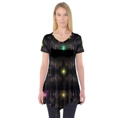 Abstract Sphere Box Space Hyper Short Sleeve Tunic