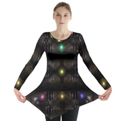 Abstract Sphere Box Space Hyper Long Sleeve Tunic