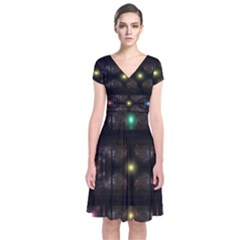 Abstract Sphere Box Space Hyper Short Sleeve Front Wrap Dress