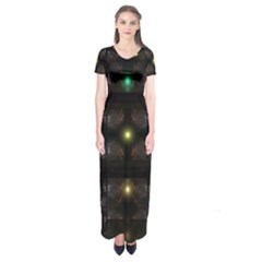 Abstract Sphere Box Space Hyper Short Sleeve Maxi Dress