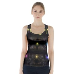 Abstract Sphere Box Space Hyper Racer Back Sports Top