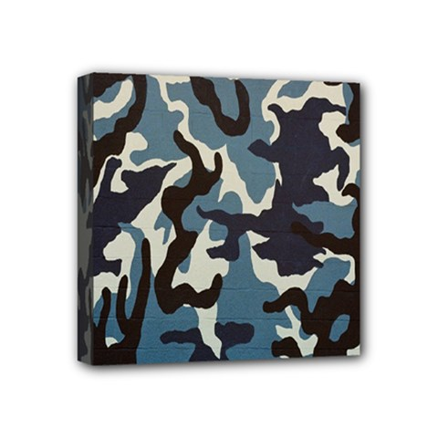 Blue Water Camouflage Mini Canvas 4  x 4