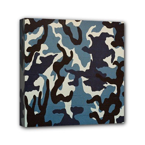 Blue Water Camouflage Mini Canvas 6  x 6