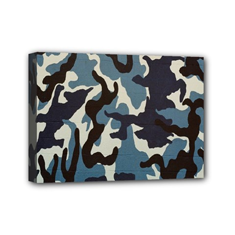 Blue Water Camouflage Mini Canvas 7  x 5