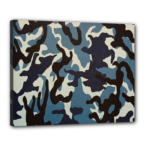 Blue Water Camouflage Canvas 20  x 16