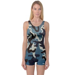 Blue Water Camouflage One Piece Boyleg Swimsuit