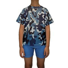 Blue Water Camouflage Kids  Short Sleeve Swimwear