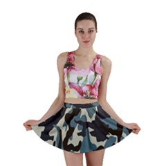 Blue Water Camouflage Mini Skirt