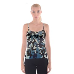 Blue Water Camouflage Spaghetti Strap Top