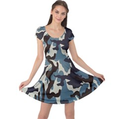 Blue Water Camouflage Cap Sleeve Dresses