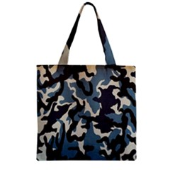 Blue Water Camouflage Zipper Grocery Tote Bag