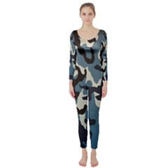 Blue Water Camouflage Long Sleeve Catsuit