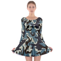 Blue Water Camouflage Long Sleeve Skater Dress
