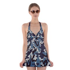 Blue Water Camouflage Halter Swimsuit Dress