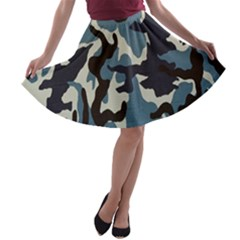 Blue Water Camouflage A Line Skater Skirt