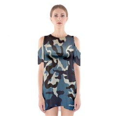 Blue Water Camouflage Shoulder Cutout One Piece