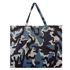 Blue Water Camouflage Zipper Large Tote Bag