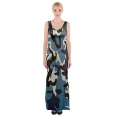 Blue Water Camouflage Maxi Thigh Split Dress