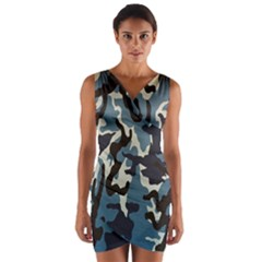 Blue Water Camouflage Wrap Front Bodycon Dress