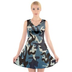 Blue Water Camouflage V Neck Sleeveless Skater Dress
