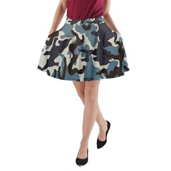 Blue Water Camouflage A-Line Pocket Skirt