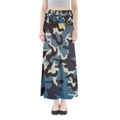 Blue Water Camouflage Maxi Skirts