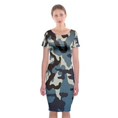 Blue Water Camouflage Classic Short Sleeve Midi Dress