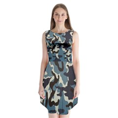Blue Water Camouflage Sleeveless Chiffon Dress