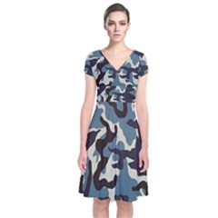 Blue Water Camouflage Short Sleeve Front Wrap Dress